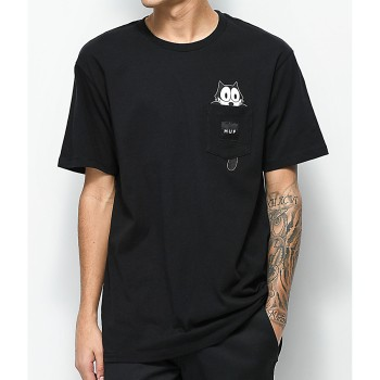 T-Shirt HUF Pocket Felix le Chat Black