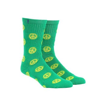 Chaussettes Psockadelic Peace Sign Green Blue