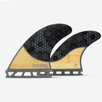 Ailerons Futures Quad - Rasta bamboo et carbon