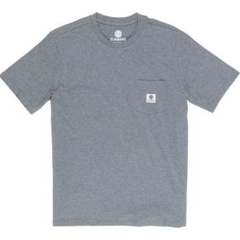 T-Shirt Basic Pocket Label Gris
