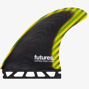 Ailerons Futures (x3) Pyzel Control Series Fiberglass Black/Yellow